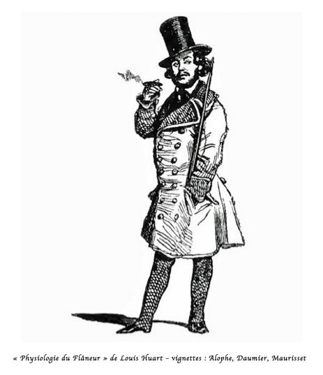 """""""Physiologie du Flâneur"""" de Louis Huart - vignettes: Alophe, Daumier, Maurisset"""